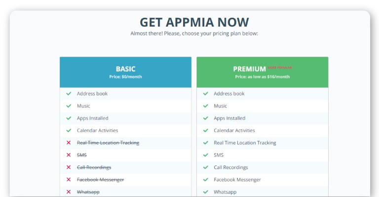 Appmia prices review on TheWiSpy android spy apps