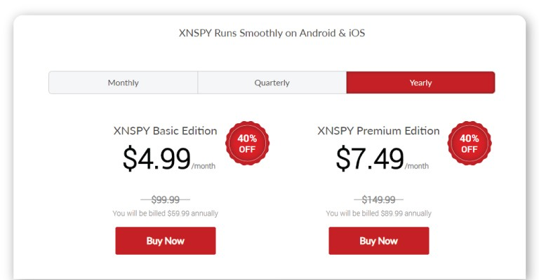 XNSPY prices review on TheWiSpy android spy apps